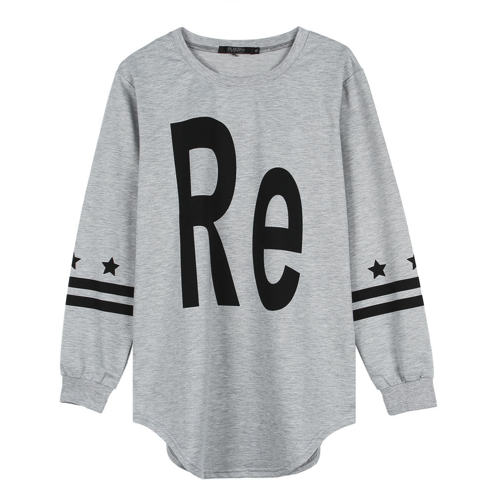 Letter/Number Women Crew Sweatshirt Loose Hoody Pullovers Hoodie Blouse XL~XXXXL