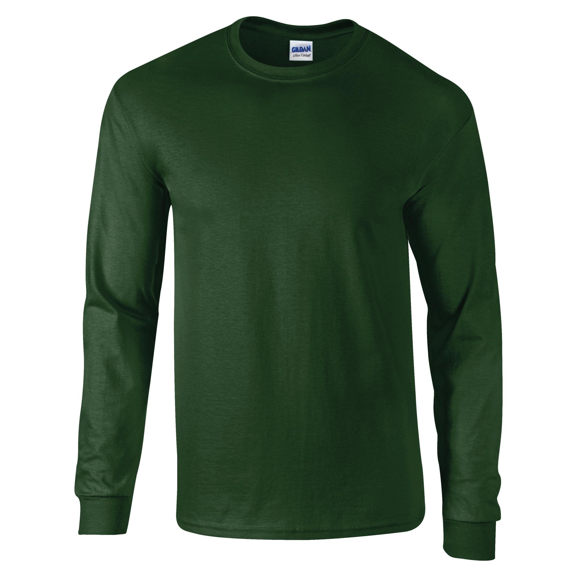 Gildan ultra cotton mens long sleeve crew neck t shirt 100 for Green mens t shirt
