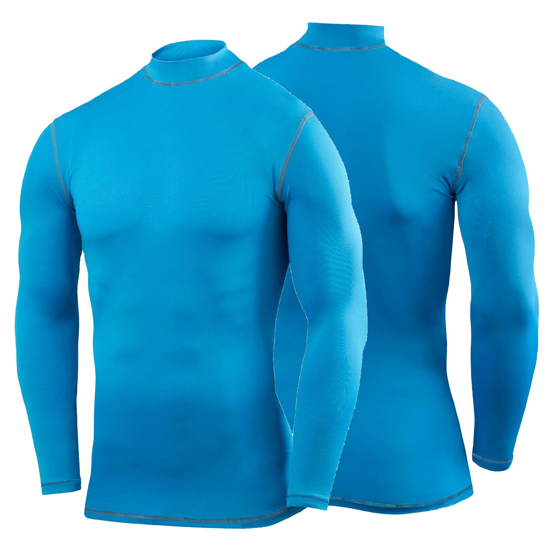 Mens long sleeve polo neck compression shirt baselayer for Compression tee shirts for men