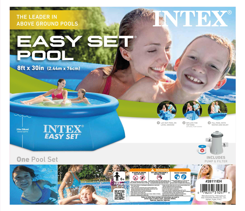 intex 8 39 x 30 easy set swimming pool 330 gph gfci. Black Bedroom Furniture Sets. Home Design Ideas