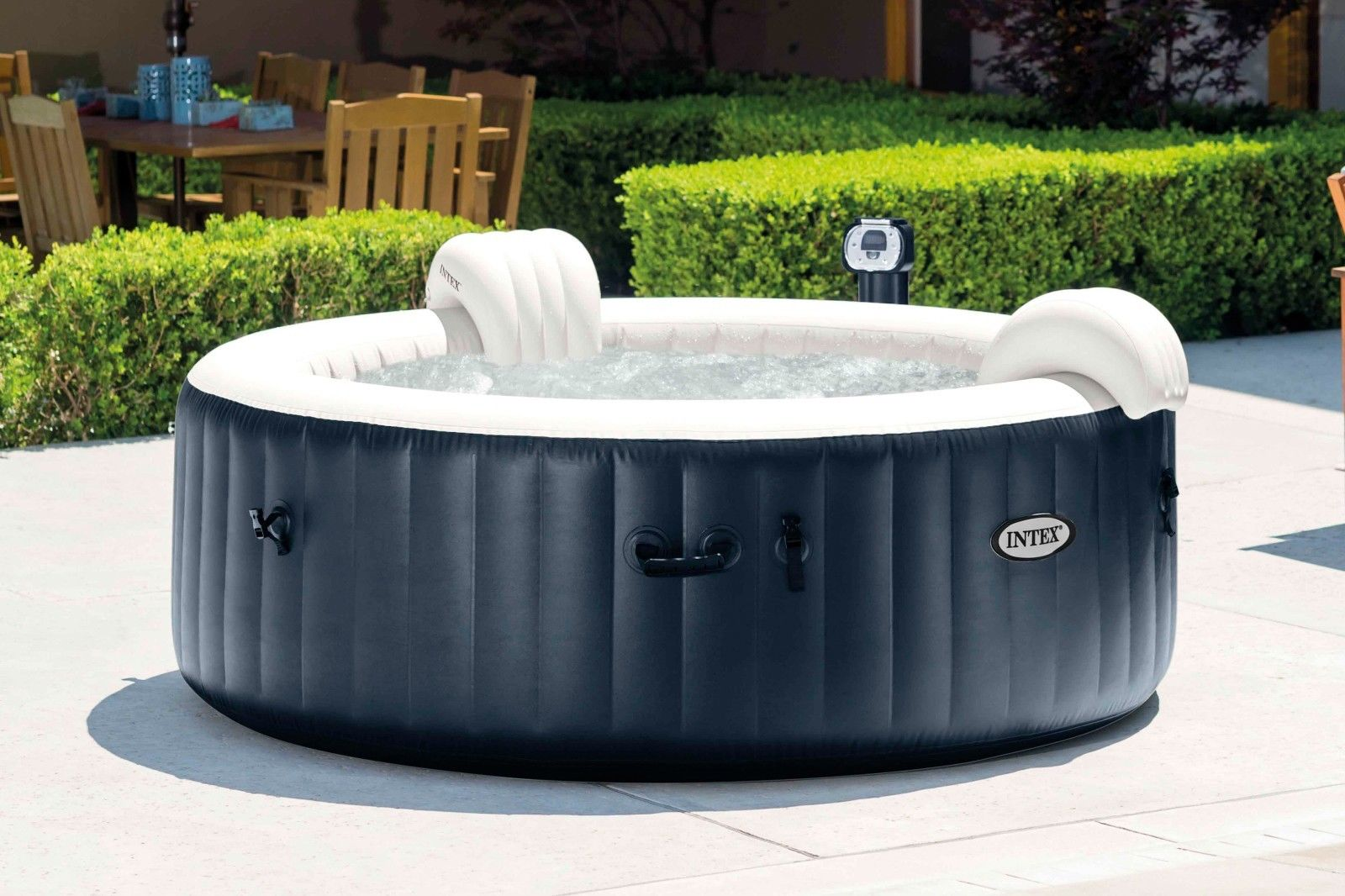 intex pure spa 4 person inflatable portable heated bubble hot tub model 28405e ebay. Black Bedroom Furniture Sets. Home Design Ideas