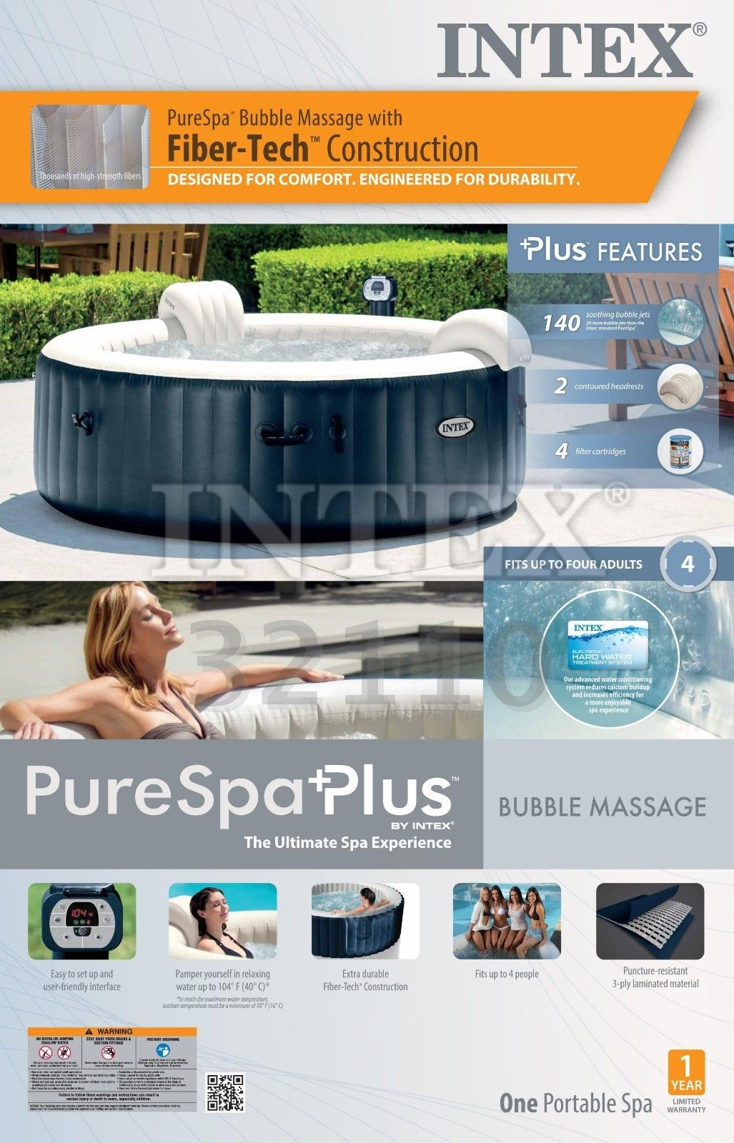 Intex Pure Spa 4 Person Inflatable Portable Heated Bubble