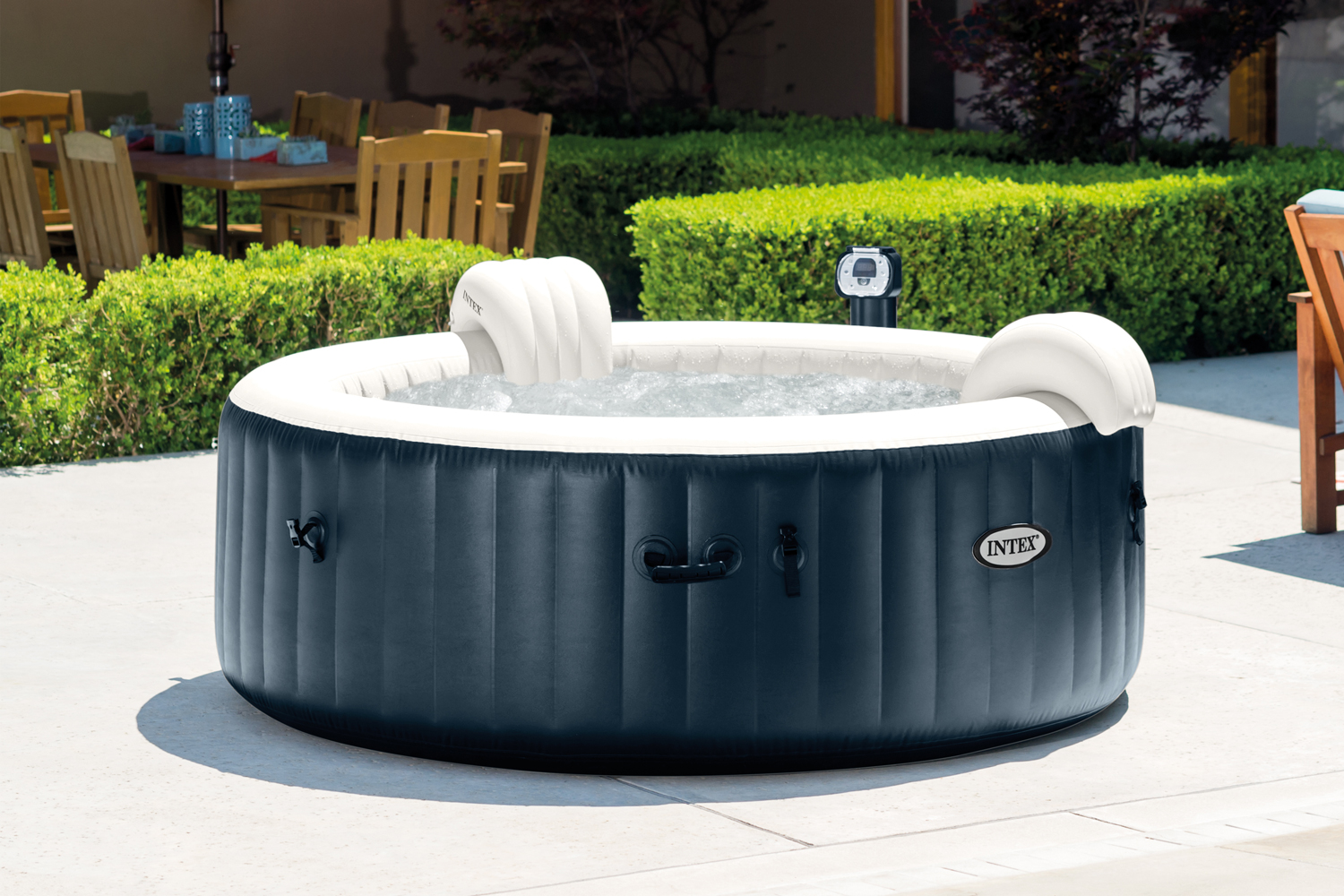 intex pure spa 6 person inflatable portable heated bubble hot tub model 28409e ebay. Black Bedroom Furniture Sets. Home Design Ideas