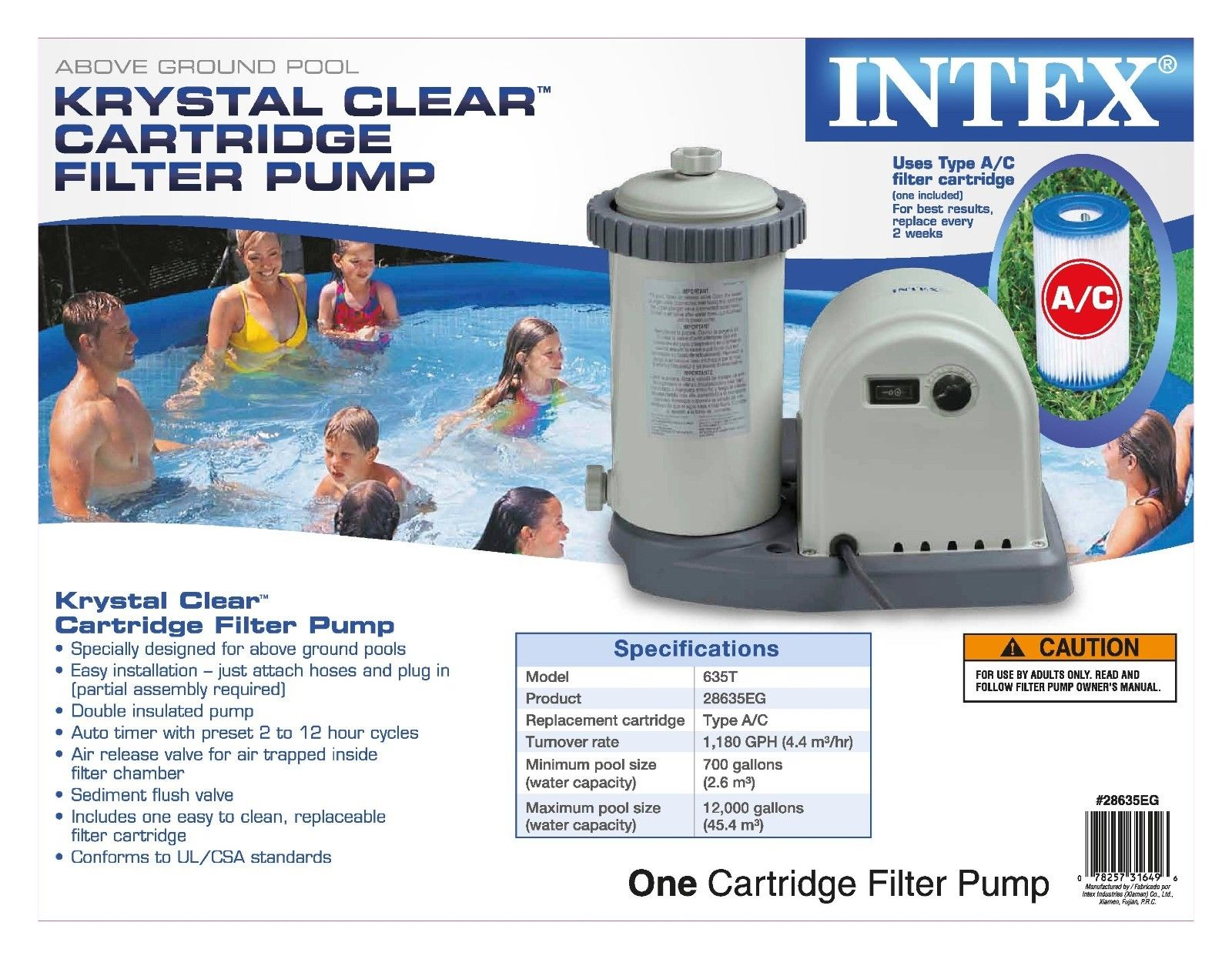 Intex Pool Plumbing : Intex gph easy set pool filter pump w timer gfci