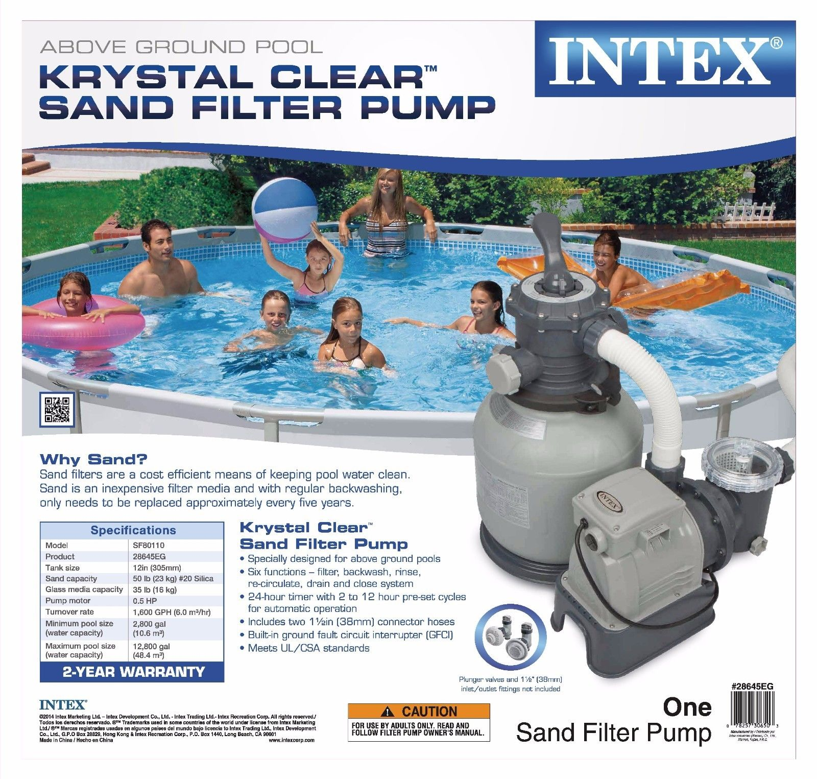 Intex Krystal Clear 2100 Gph Above Ground Easy Set Pool
