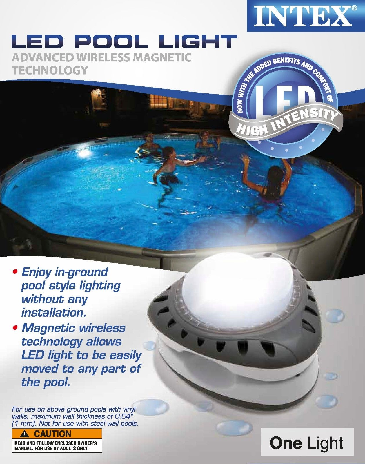 Intex Magnetic LED Above Ground Swimming Pool Wall Light New Model