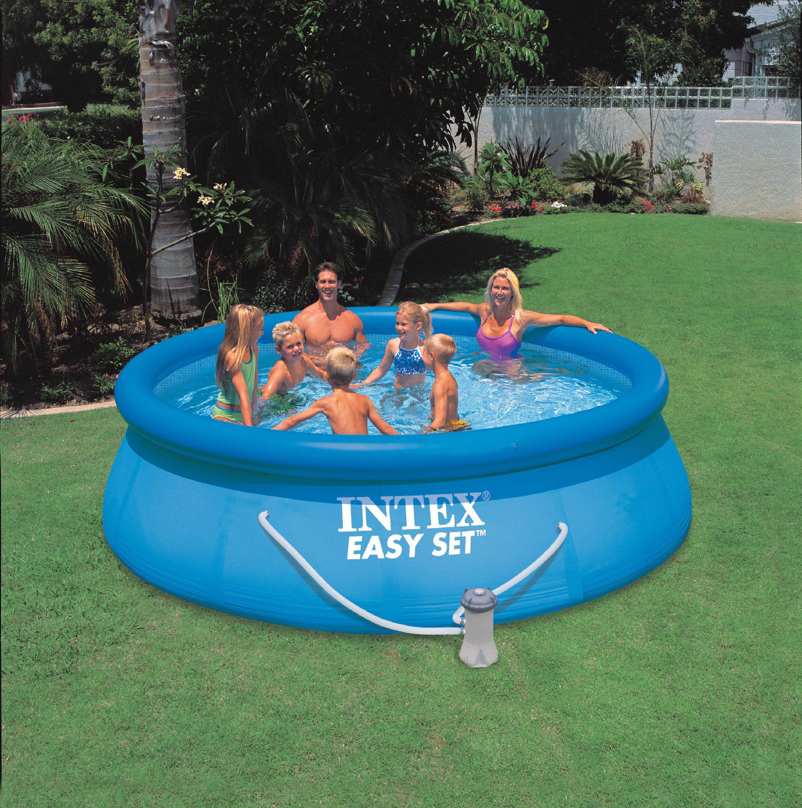 intex 13 x 33 easy set swimming pool with 530 gfci gph filter pump 28141eh