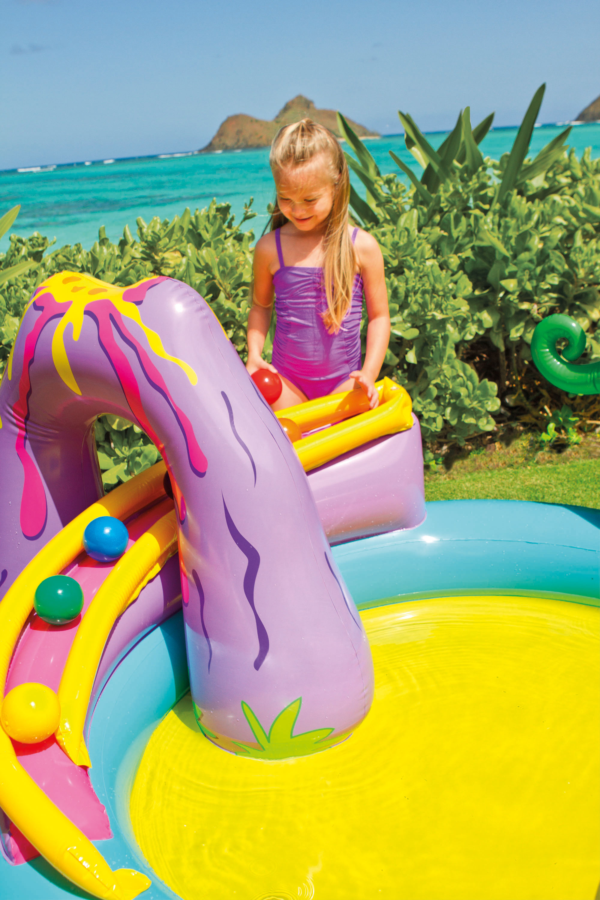 Intex inflatable kids dinoland play center slide pool games 57135ep ebay for Two player swimming pool games