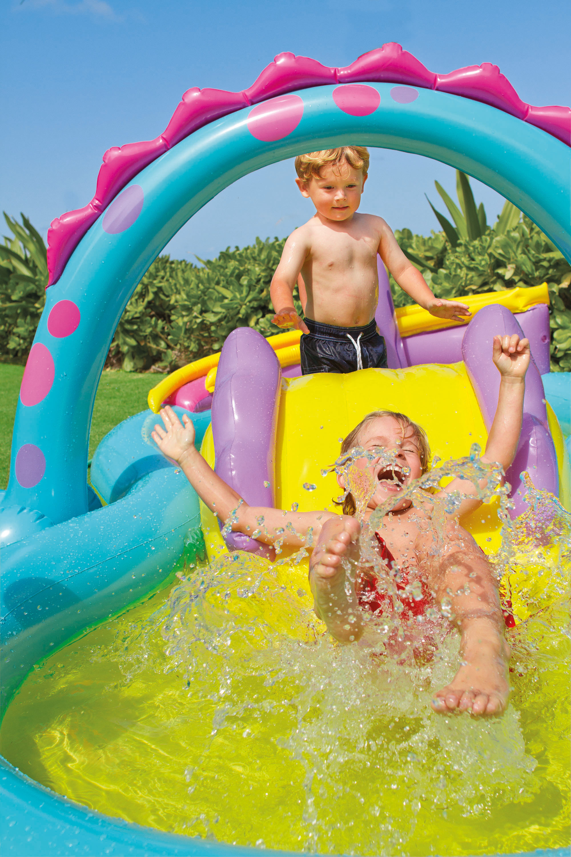 Intex Inflatable Kids Dinoland Play Center Slide Pool