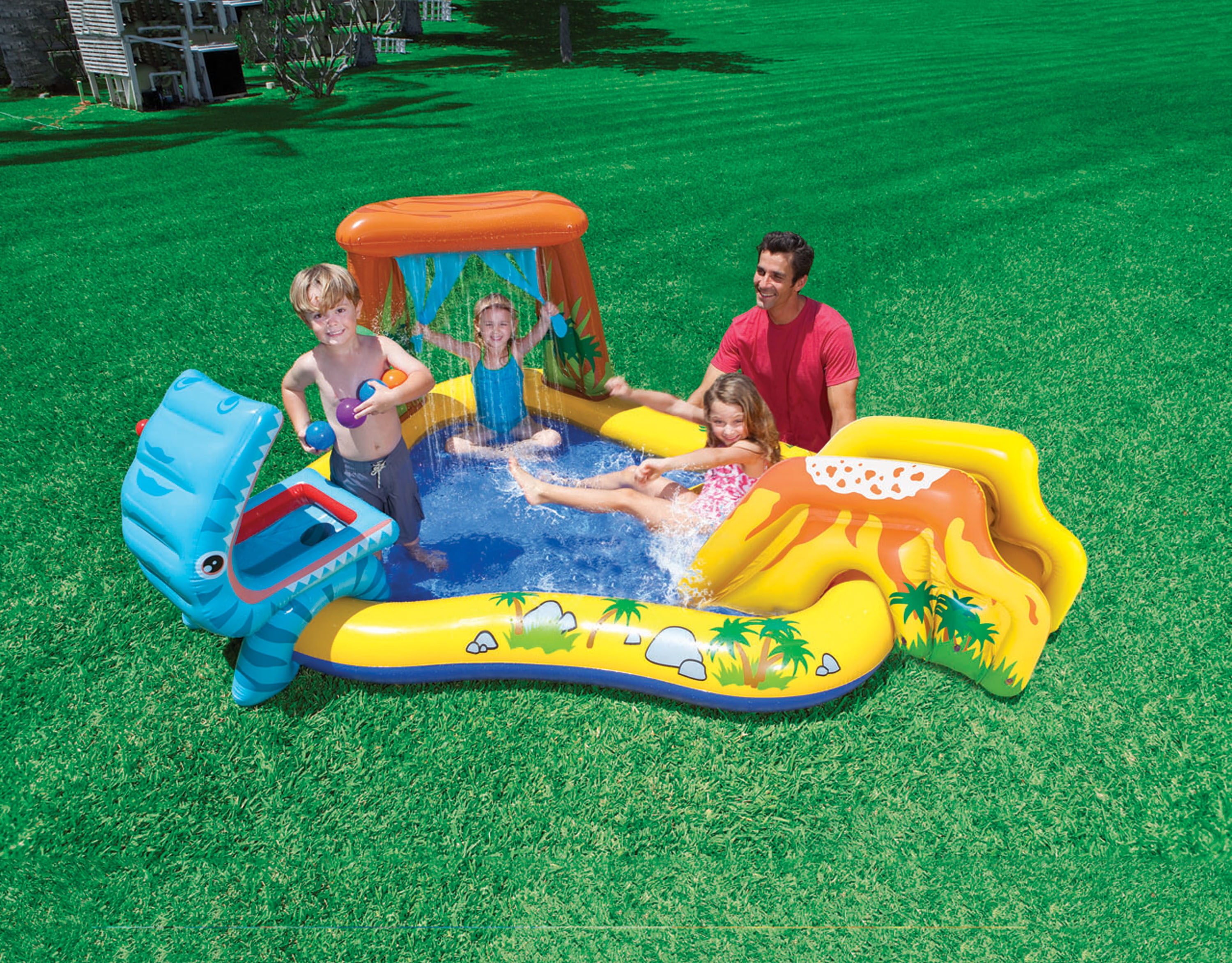 Inflatable Pool Slide Intex intex dinosaur play center inflatable kids set & swimming pool 57444ep