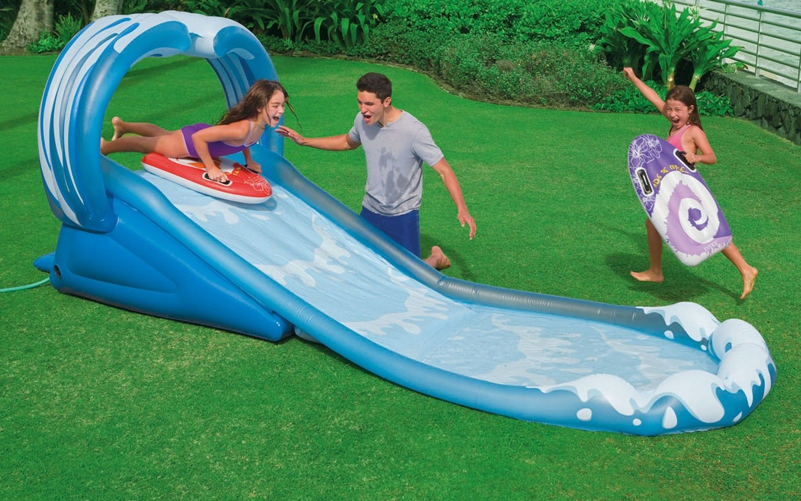 intex surf n slide inflatable kids water slide play center splash