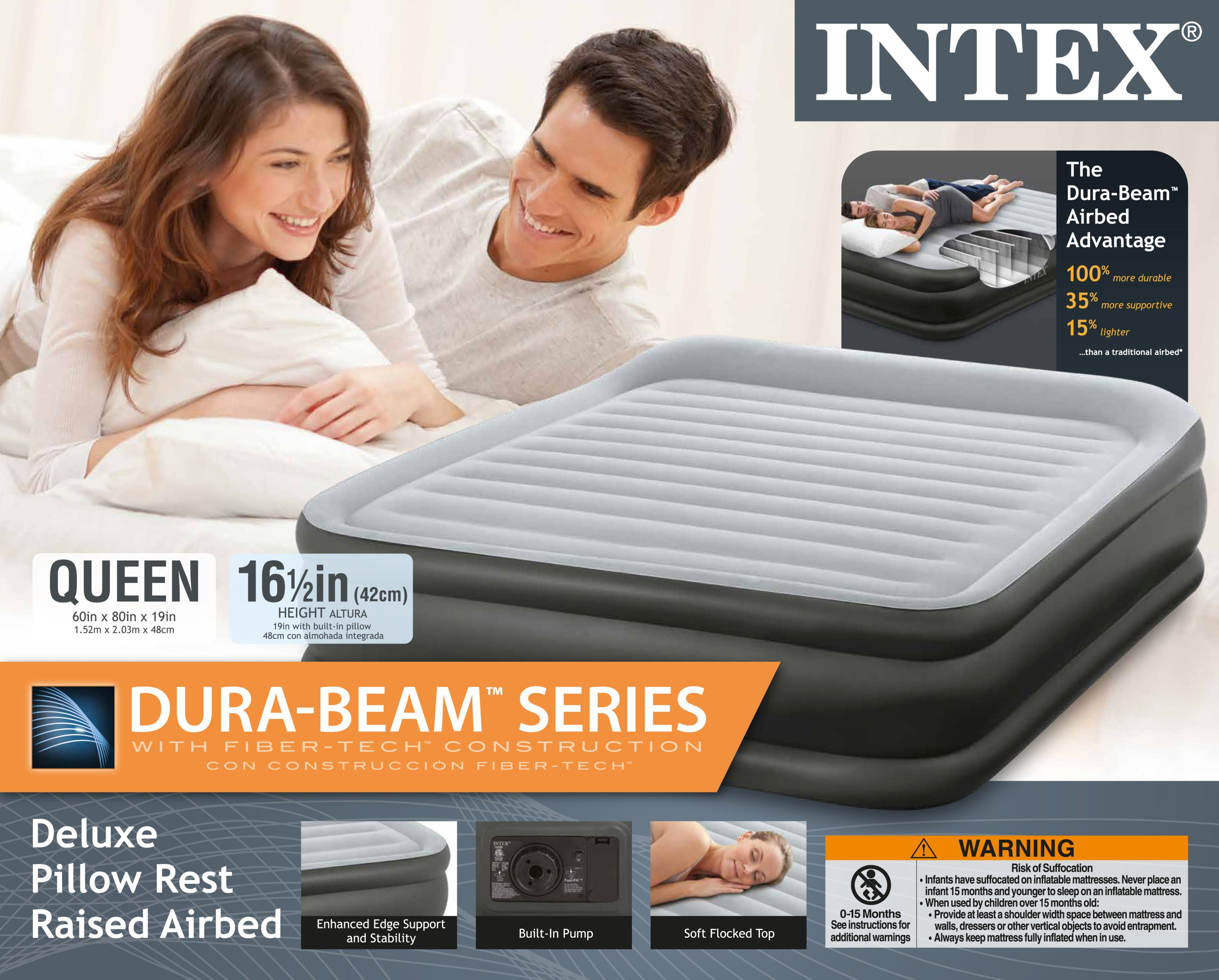 Intex Queen Deluxe Pillow Rest Fiber Tech Raised Air Bed