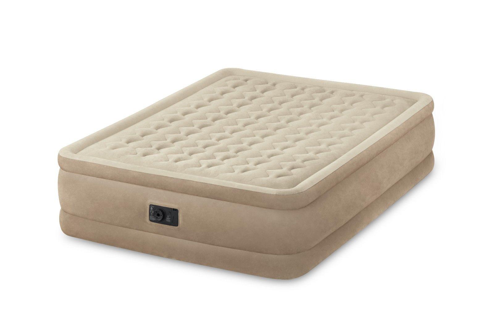 intex queen raised ultra push fiber-tech air bed mattress air bed