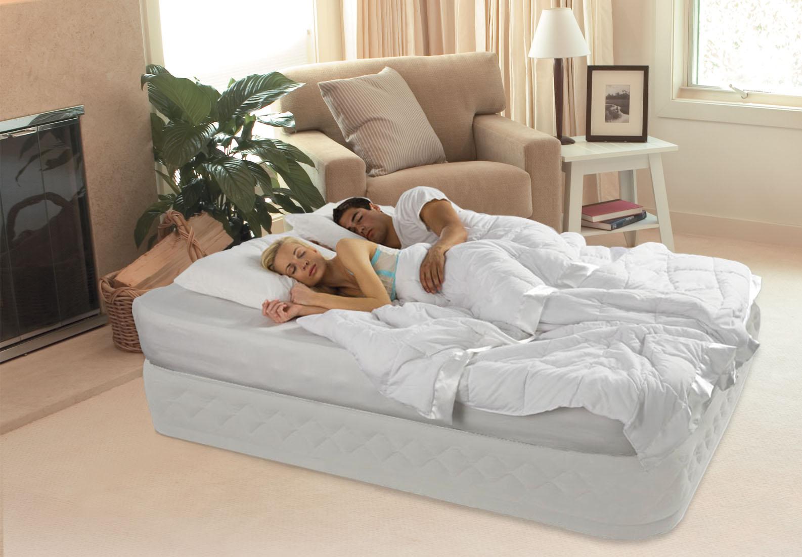queen mattress bed.  Mattress Intex DuraBeam Queen Raised Supreme Air Flow Mattress Bed Built In Pump  64463E With