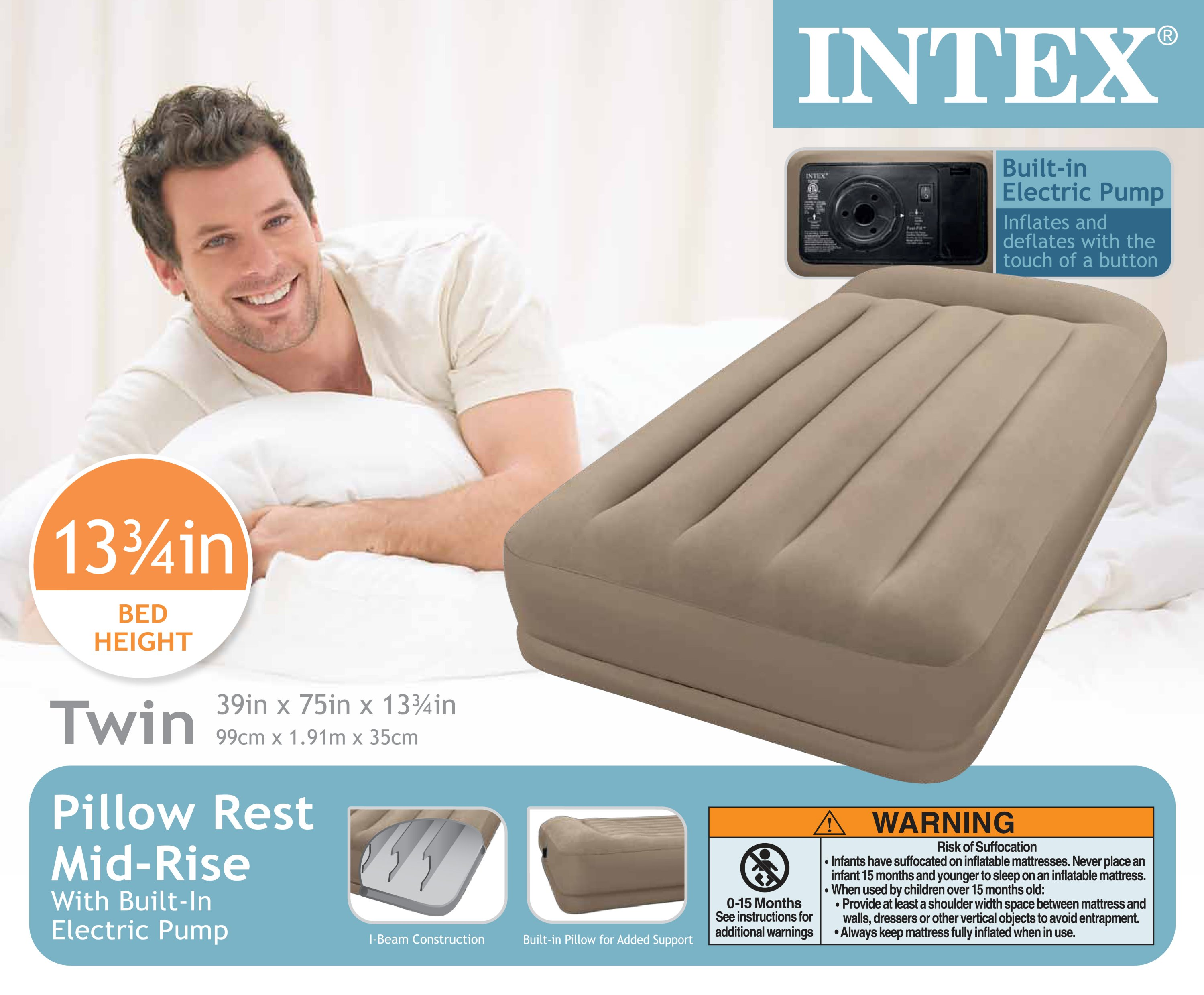 Intex pillow rest mid rise air bed mattress airbed w built for Intex pool handler
