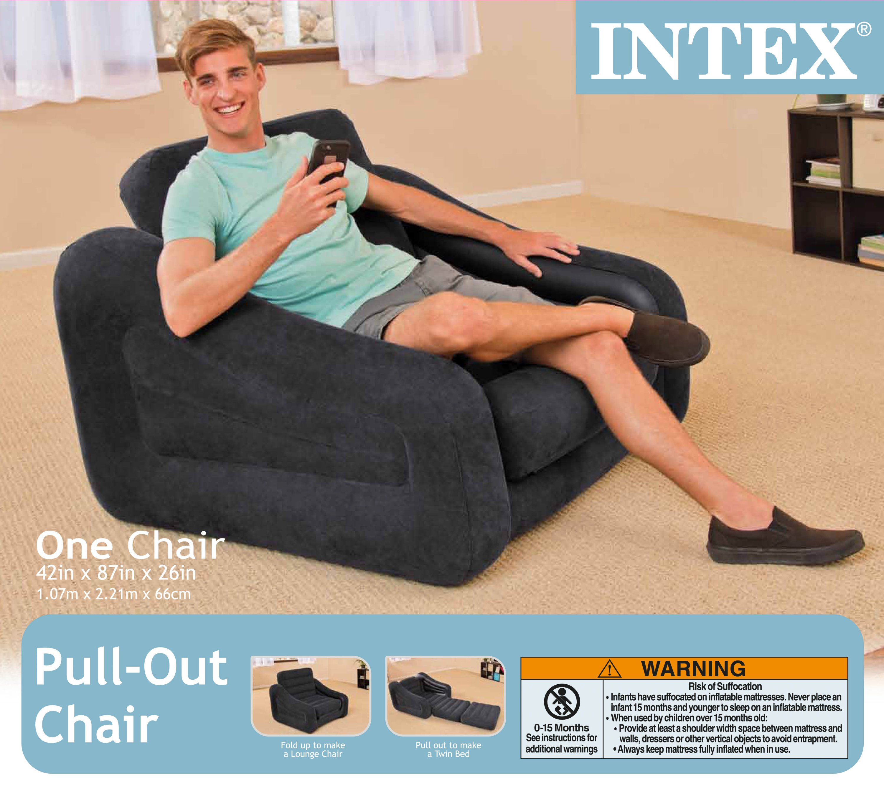 intex inflatable lounge chair. Intex Inflatable Air Chair With Pull Out Twin Bed Mattress Sleeper 68565E Black Lounge L
