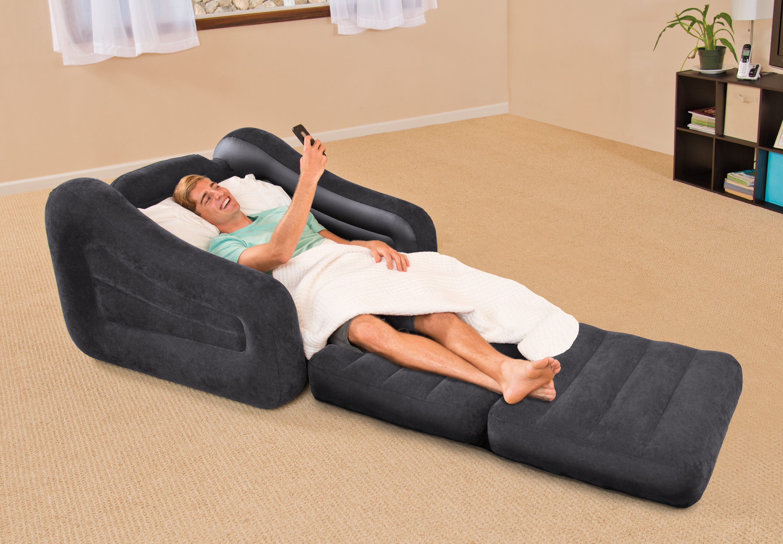 Delightful Intex Inflatable Air Chair With Pull Out Twin Bed Mattress Sleeper 68565E  Black