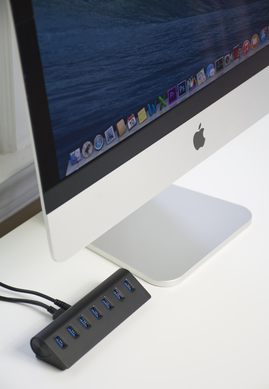 Sabrent Premium 7 Port Aluminum USB 3.0 Hub (5V/4A Power ...