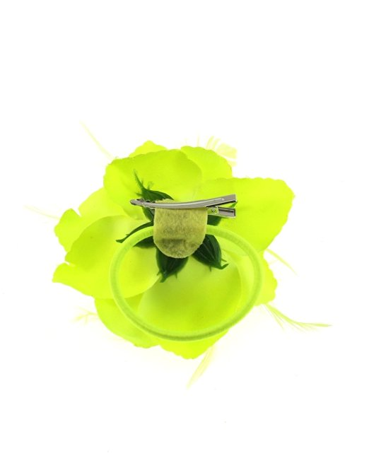 Zac/'s Alter Ego® Glitter Edge Fabric Flower with Feathers on Hair Clip /& Elastic
