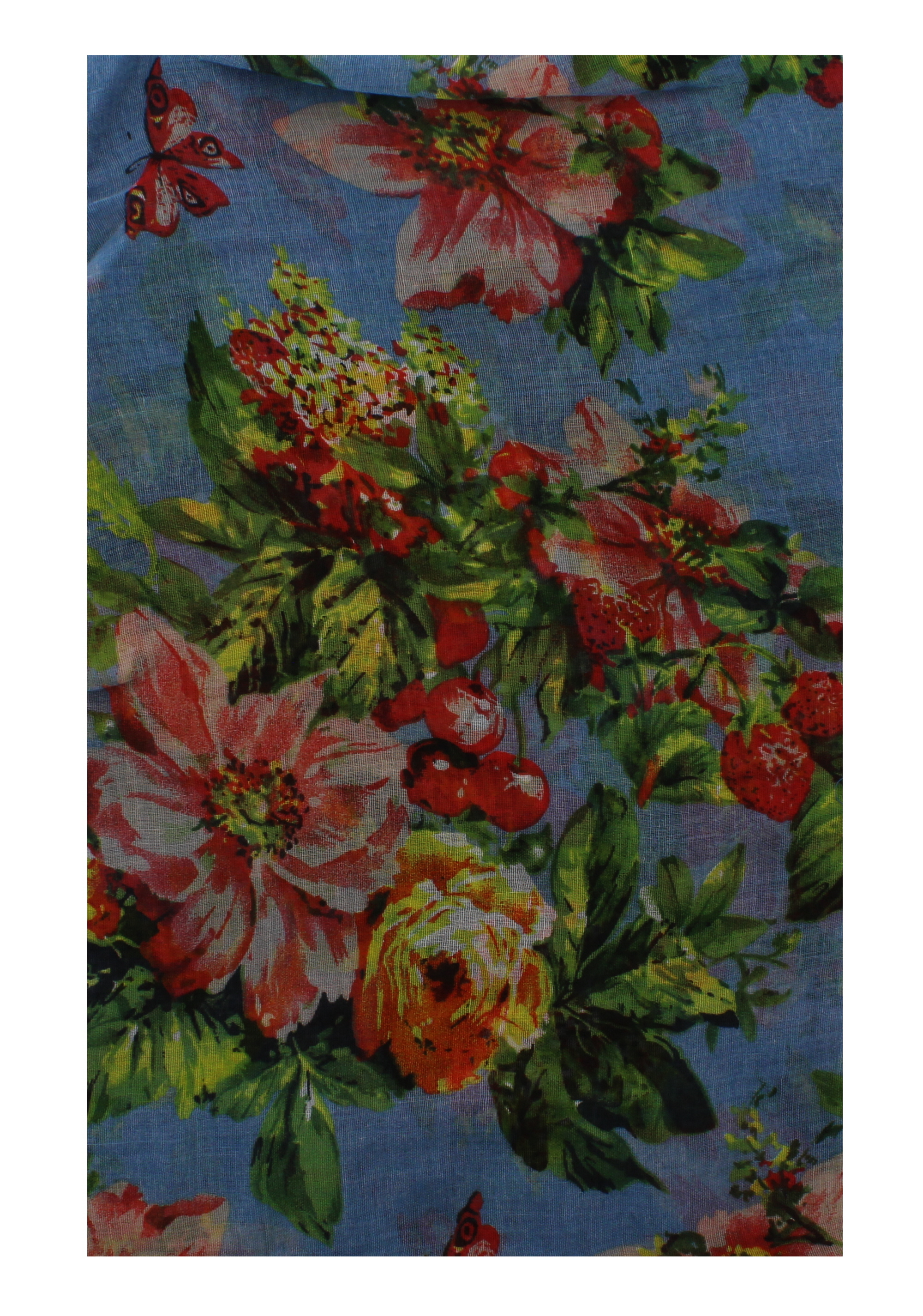 Cherry /& Flower Print Scarf Zac/'s Alter Ego Long Lightweight Butterfly