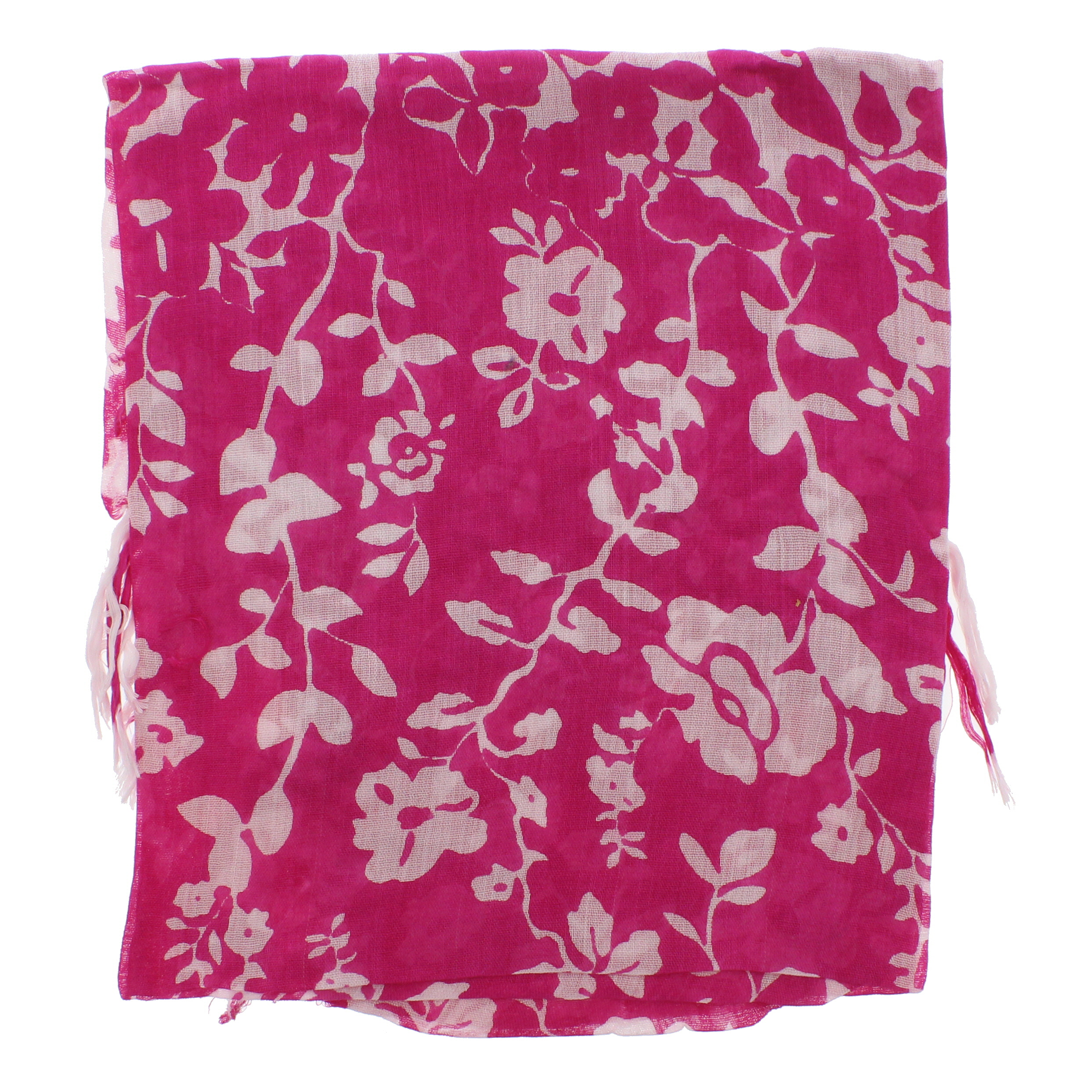 Zac/'s Alter Ego Long Lightweight Two Tone Floral Print Square Scarf with Tassels