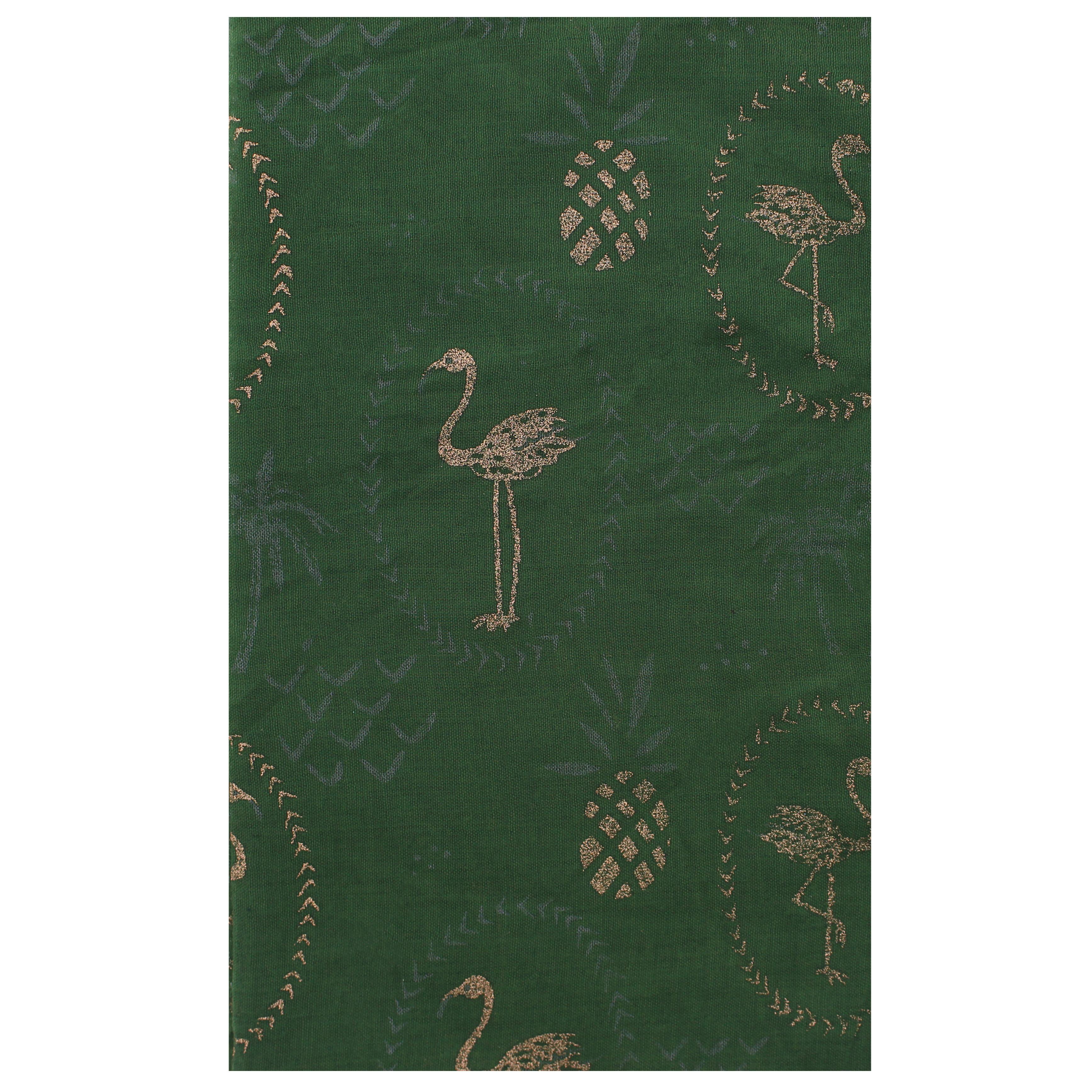 Women Ladies Scarf with Gold Glitter Flamingo /& Pineapple Print