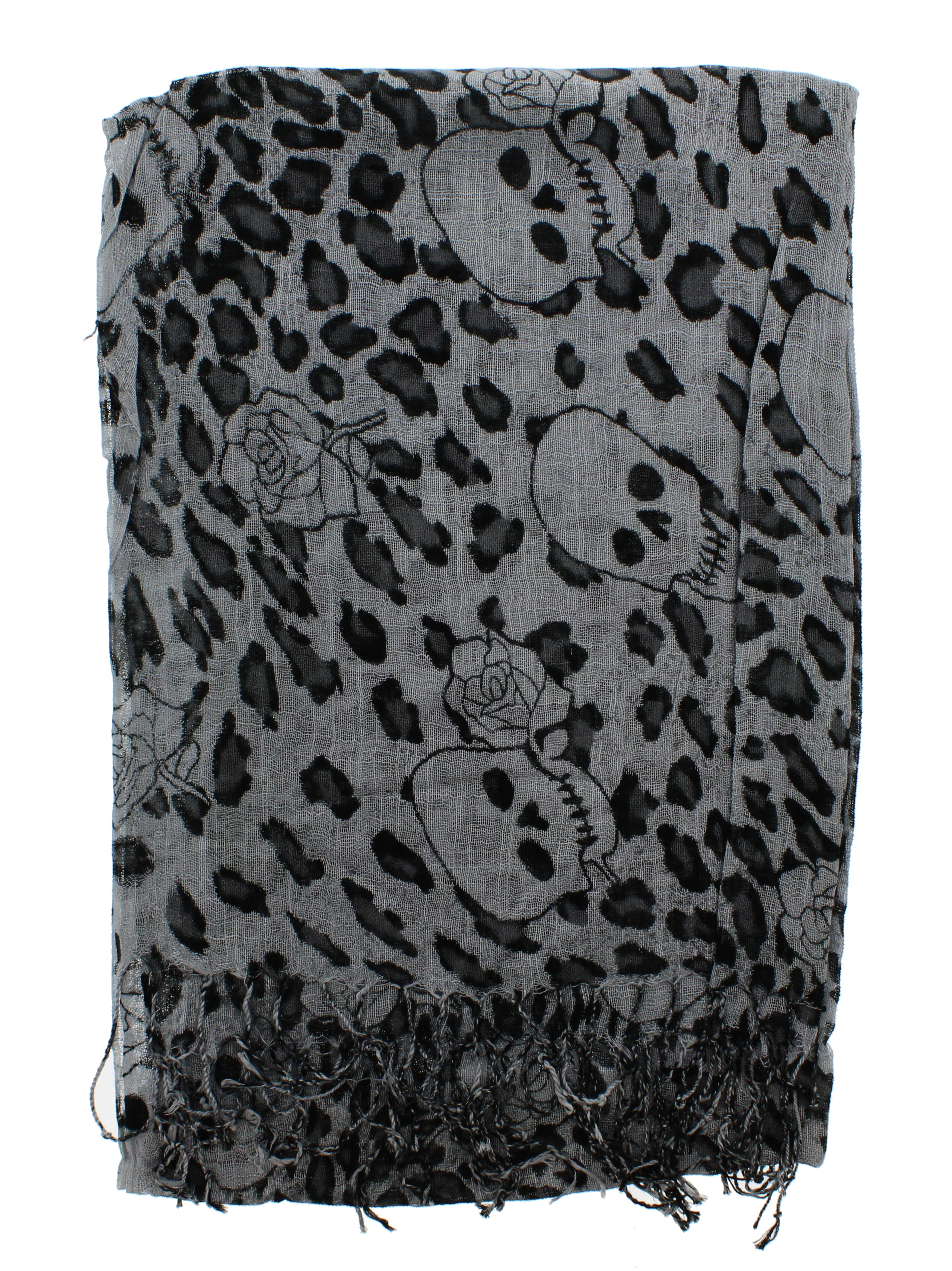 Zac/'s Alter Ego Long Lightweight Scarf with Skulls Roses /& Leopard Print