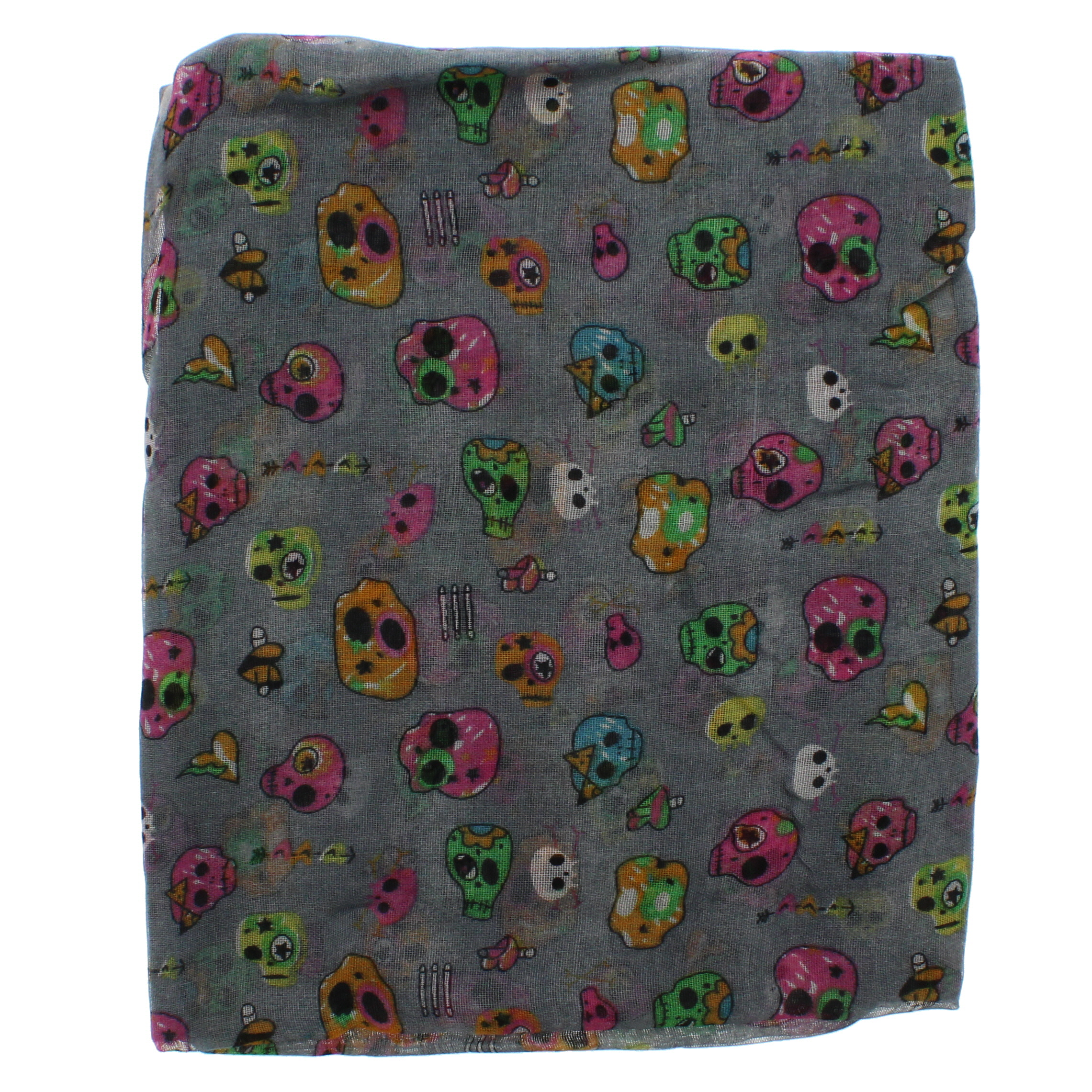 Zac/'s Alter Ego Long Lightweight Scarf with Multicolour Crazy Skulls
