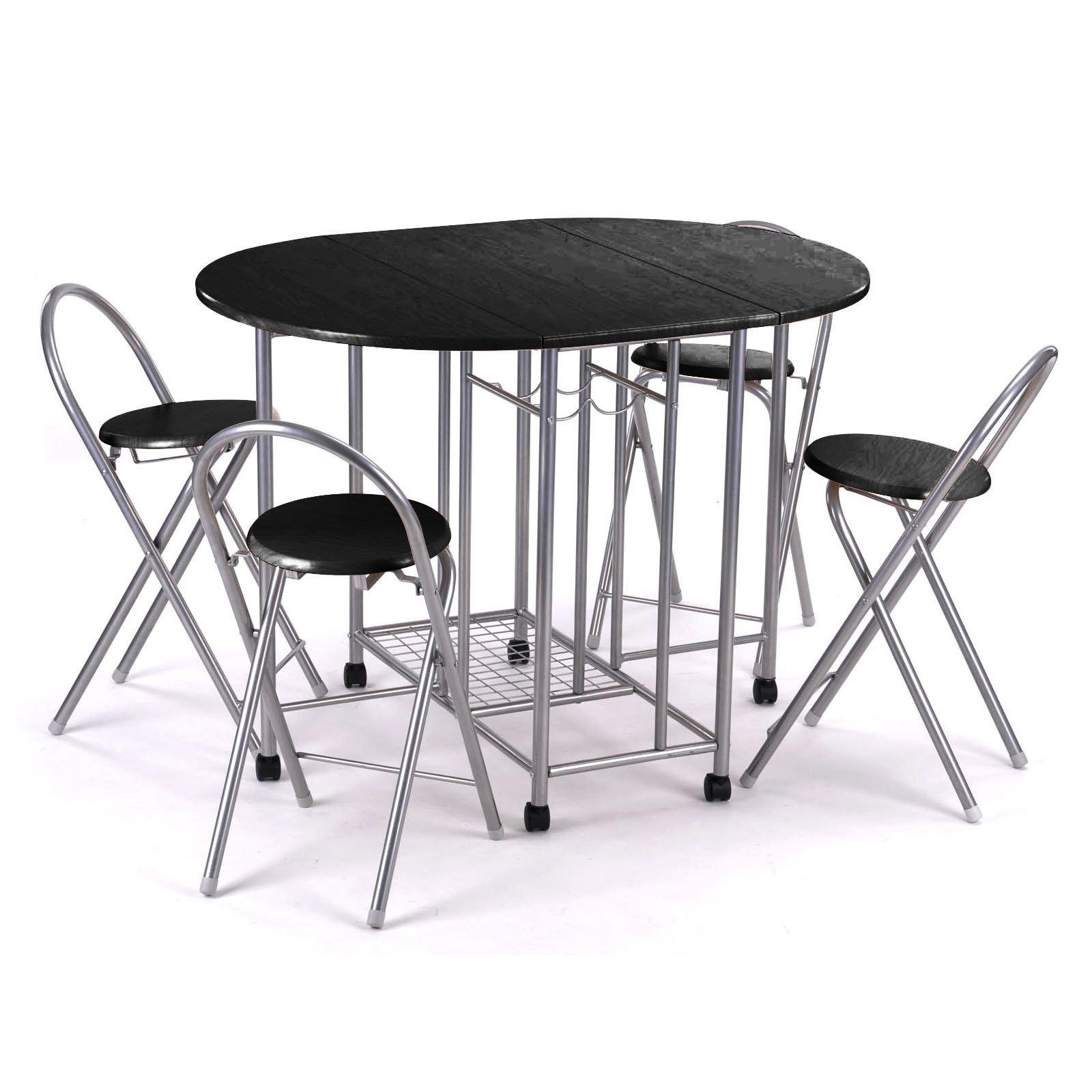 5pc kitchen dinette dinning folding table and chairs set for Black kitchen table set
