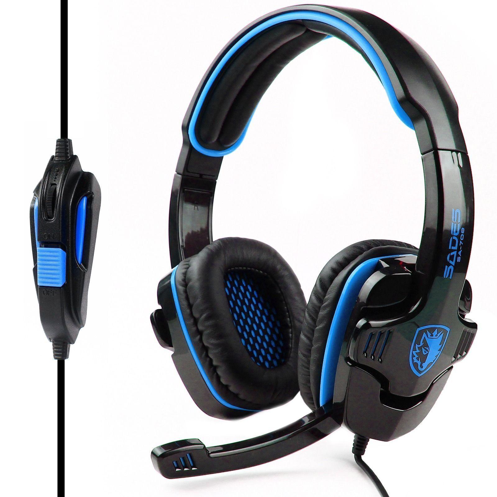 HiFi Stereo Bass Headset Headband 3.5mm PC Notebook Pro Gaming with Mic