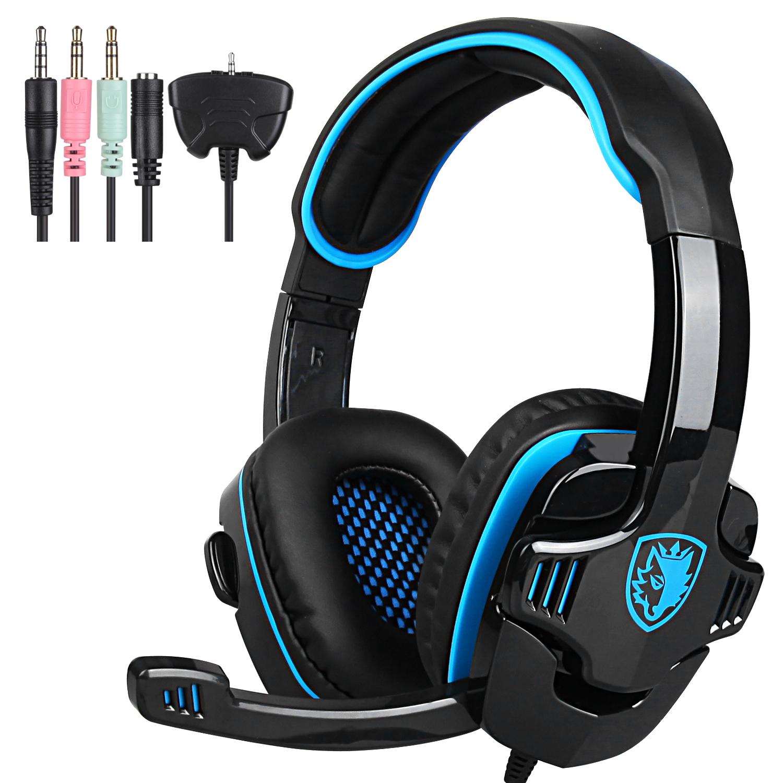 Sades HiFi Stereo Sound Headband 3.5mm PC Laptop Pro Gaming Headset w/Mic