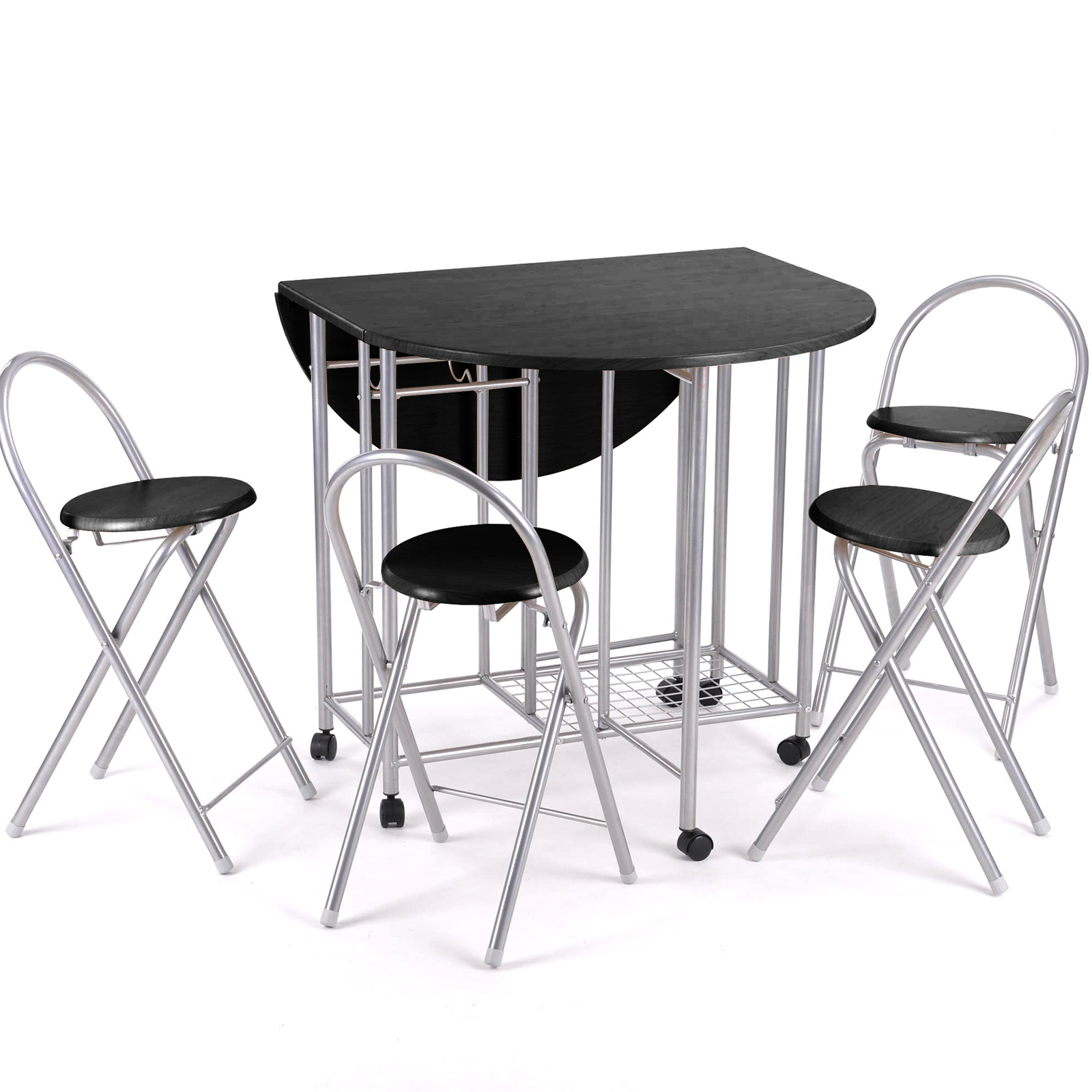 5pc kitchen dinette dinning folding table and chairs set for Kitchen set table and chairs