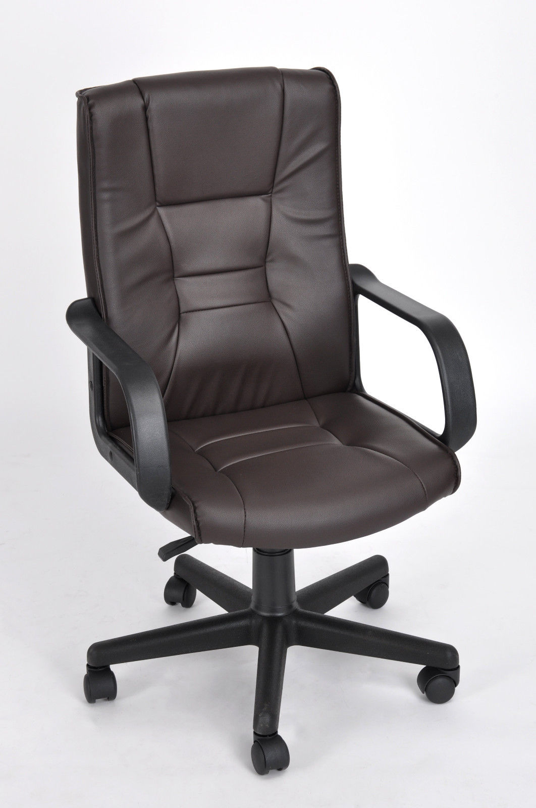 high back pu leather executive office desk task computer chair with arms brown ebay. Black Bedroom Furniture Sets. Home Design Ideas