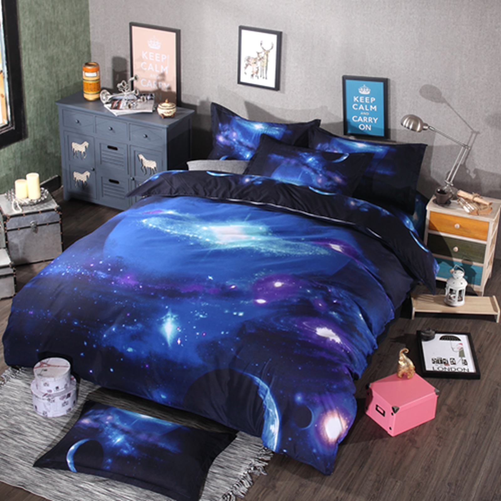 Bed sheet set with quilt - 3d Printed Bedding Set Duvet Quilt Cover Mysterious