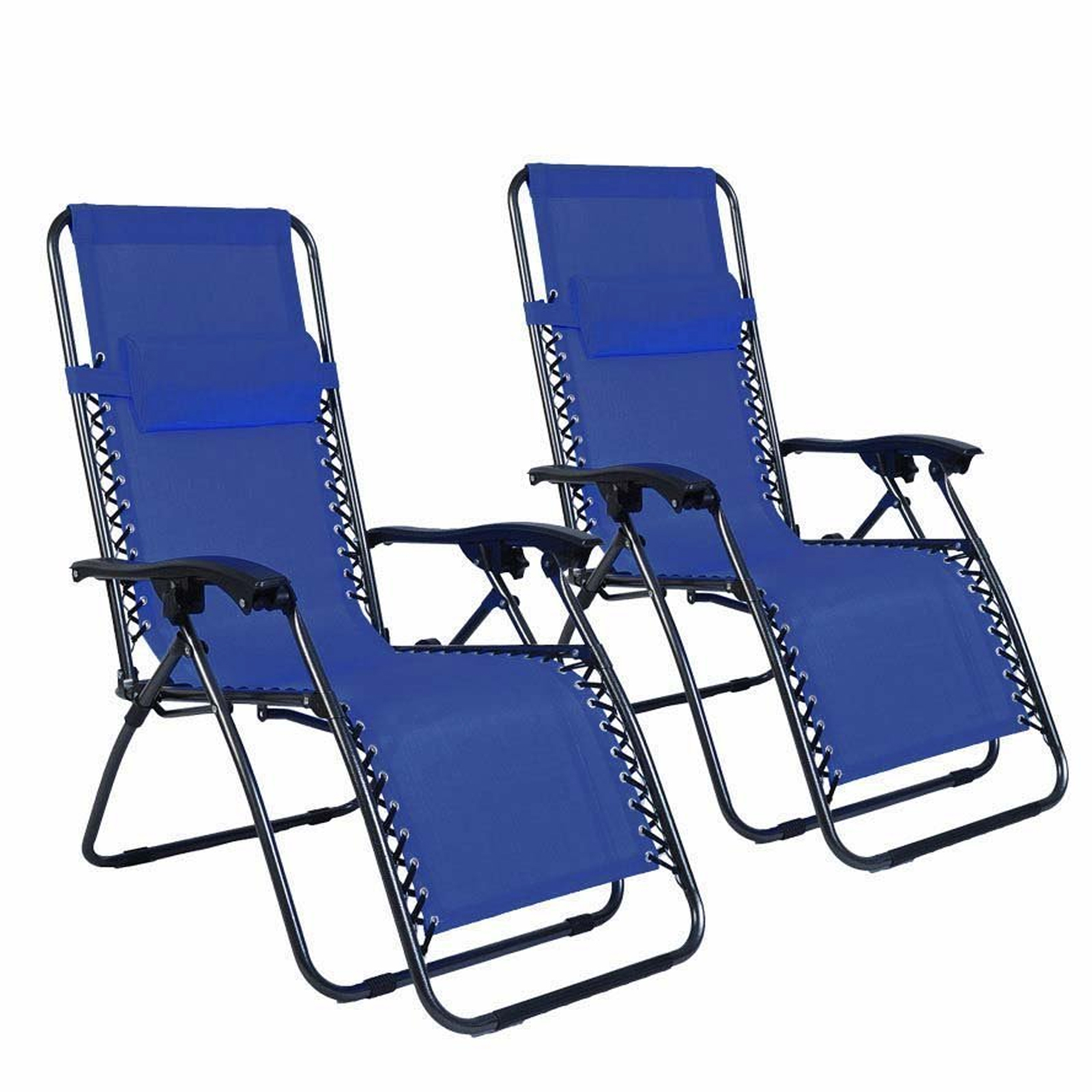 details about 2 zero gravity folding chair with cup tray recliner