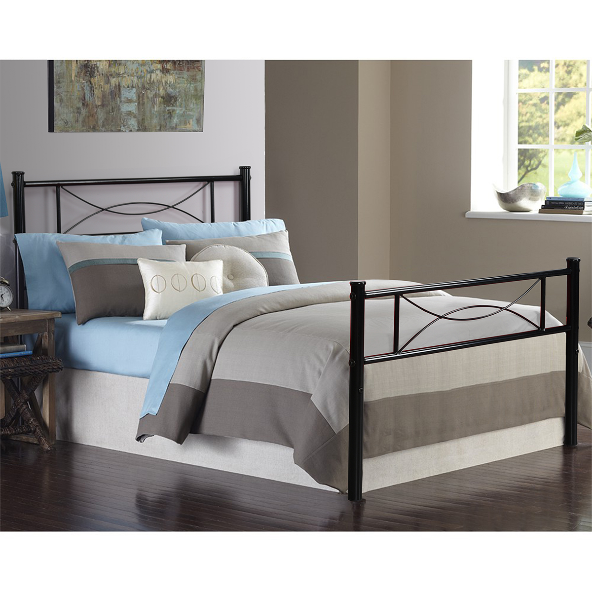 bedroom metal bed frame platform mattress foundation headboard twin full size. Black Bedroom Furniture Sets. Home Design Ideas