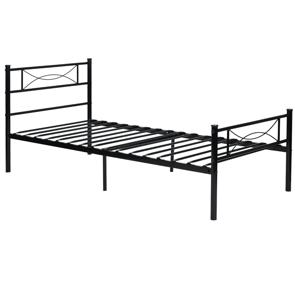 Bedroom metal bed frame platform mattress foundation for Full size bed frame