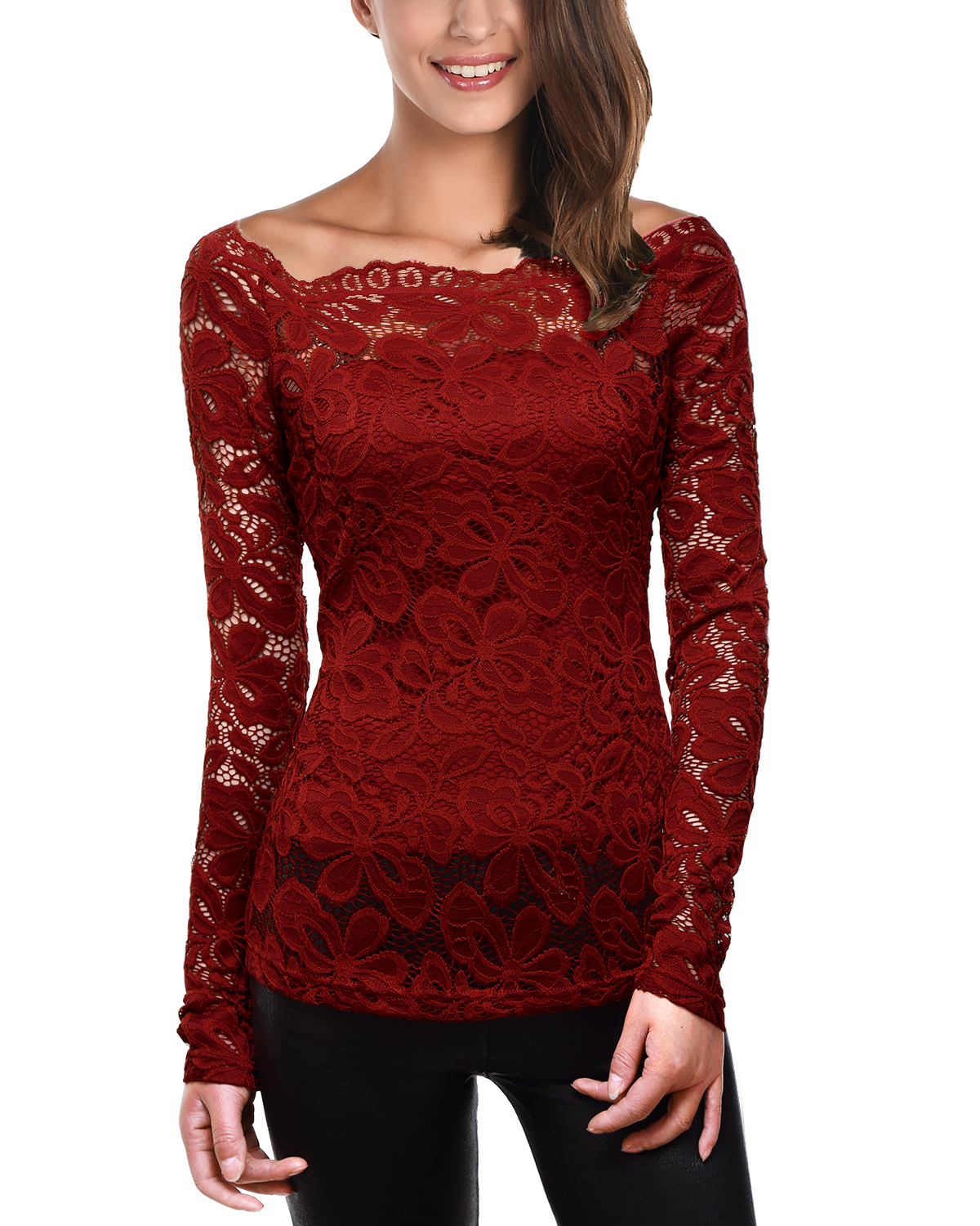 Find a great selection of 3/4 and long sleeve tops for women at Boscov's. Fill your wardrobe with tops for any weather and occasion at great prices. Grab ahold of classic chic style in this Absolutely Famous solid top with long lace grommet-accented balloon sleeves. The stellar design includes a tie trim split neckline and rounded hem. 95%.