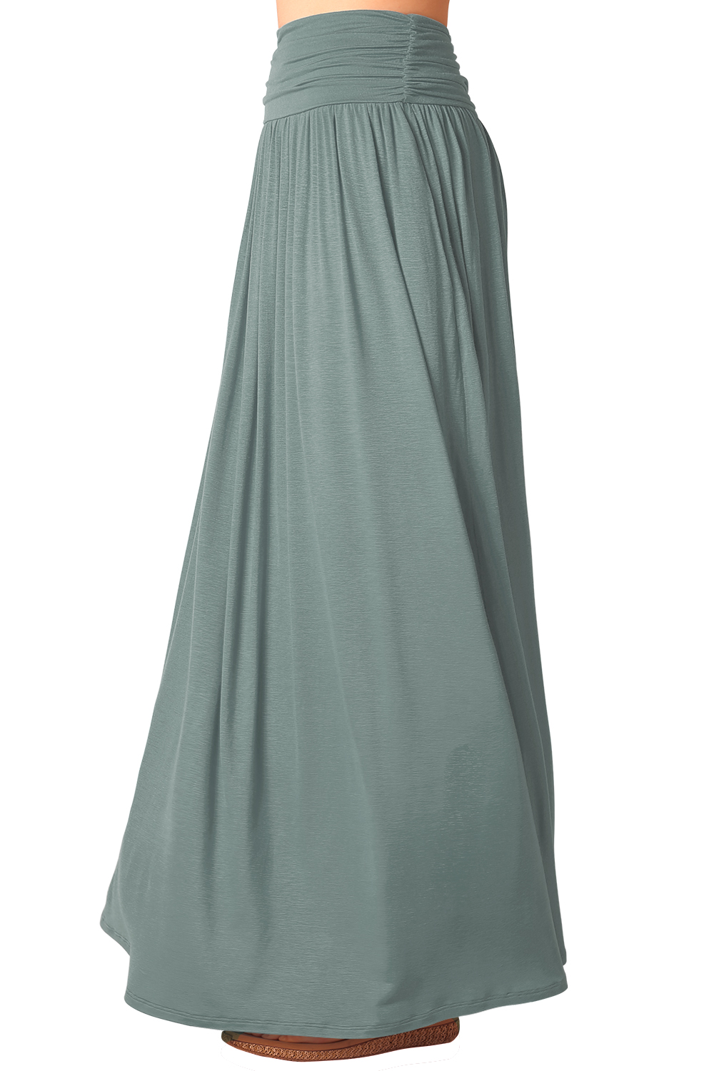 pleated high waist stretchy plain jersey flared swing