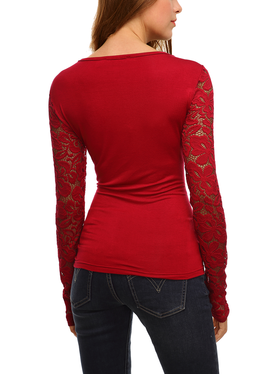 Women 39 s trendy floral lace long sleeves tunic tops blouse for Trendy t shirts for ladies