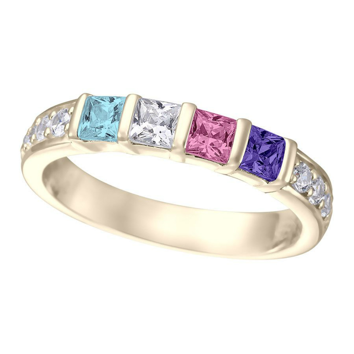 Silver Birthstone Rings For Mothers