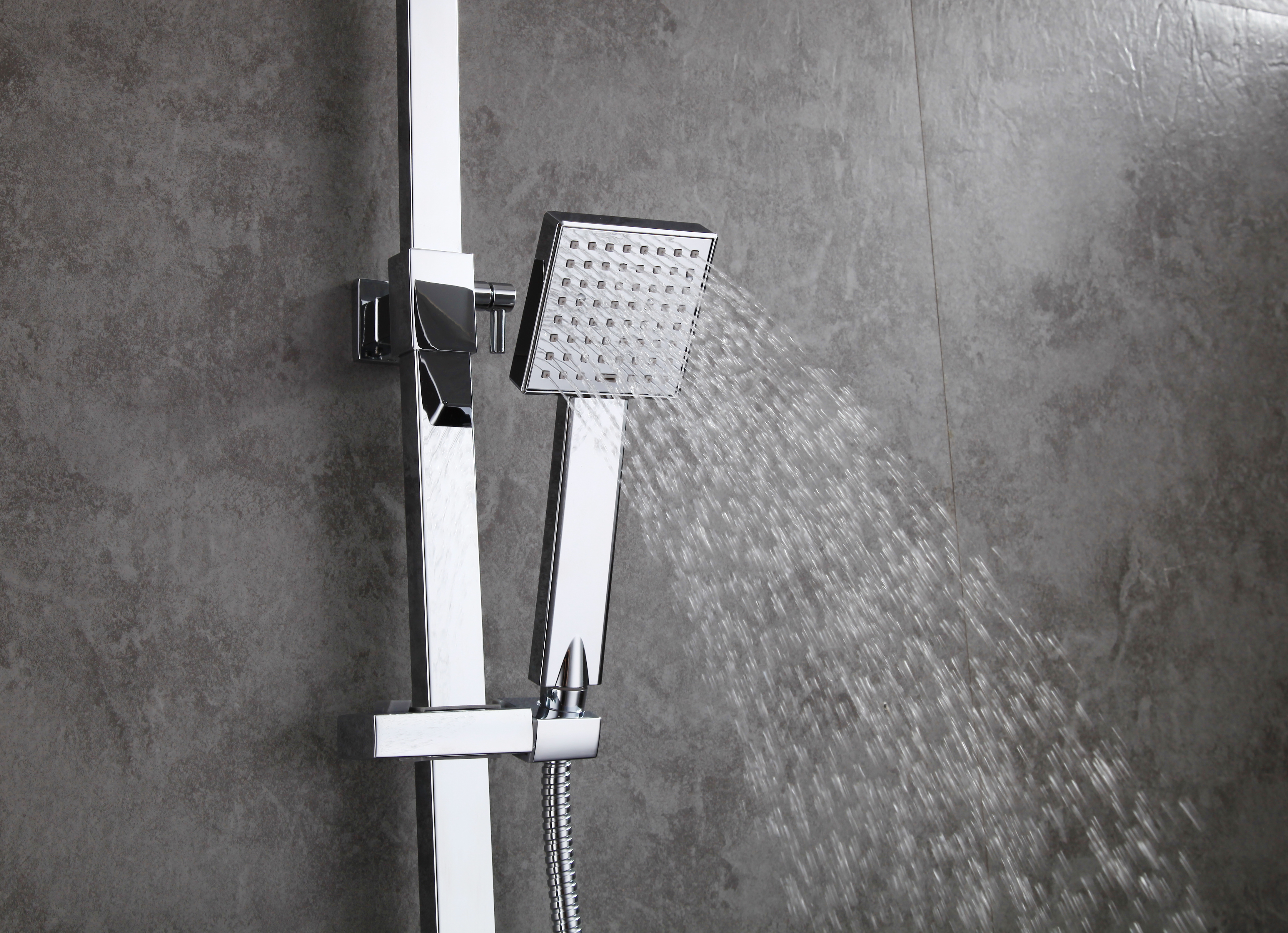 Modern Bathroom Wall Mount Rain Shower Set With Head Hand Shower Faucet Mix