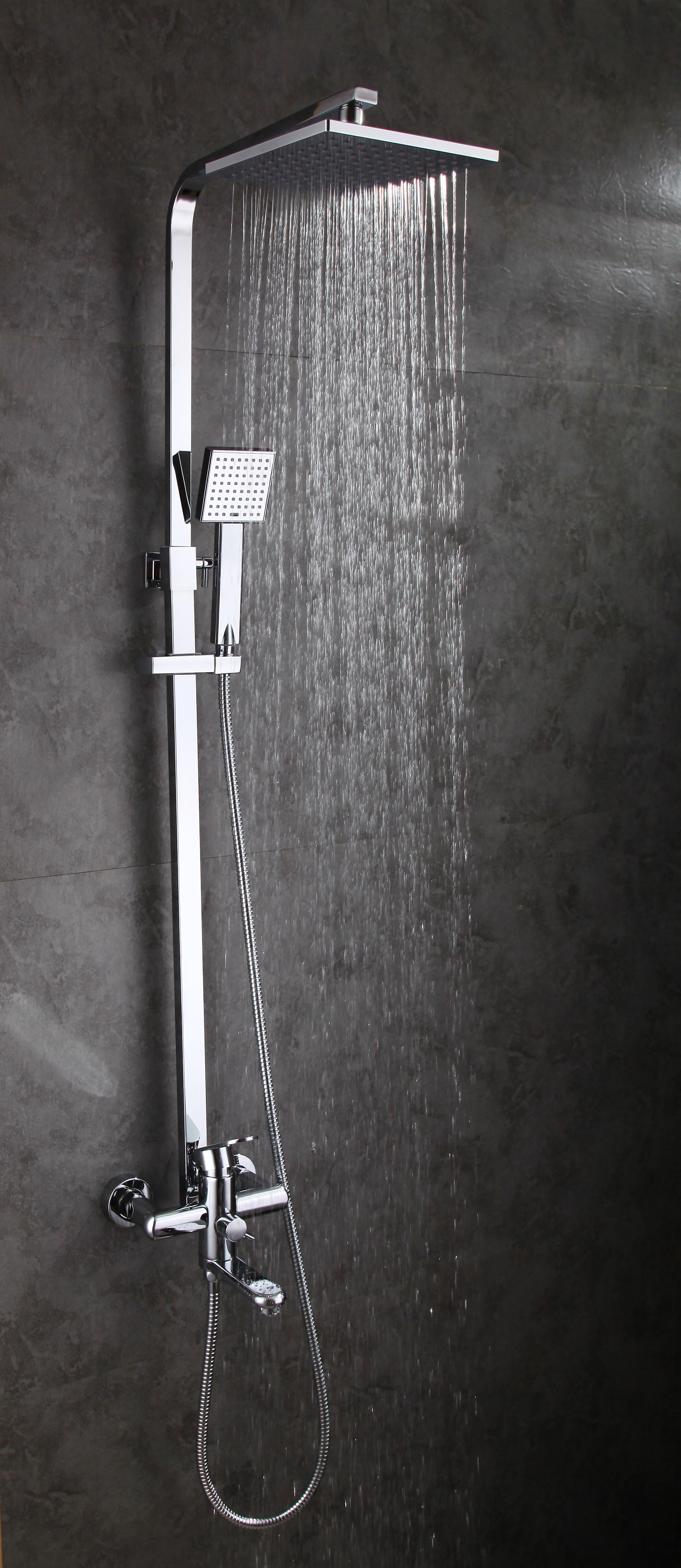 modern bathroom wall mount rain shower set with head hand shower faucet mixer ebay. Black Bedroom Furniture Sets. Home Design Ideas