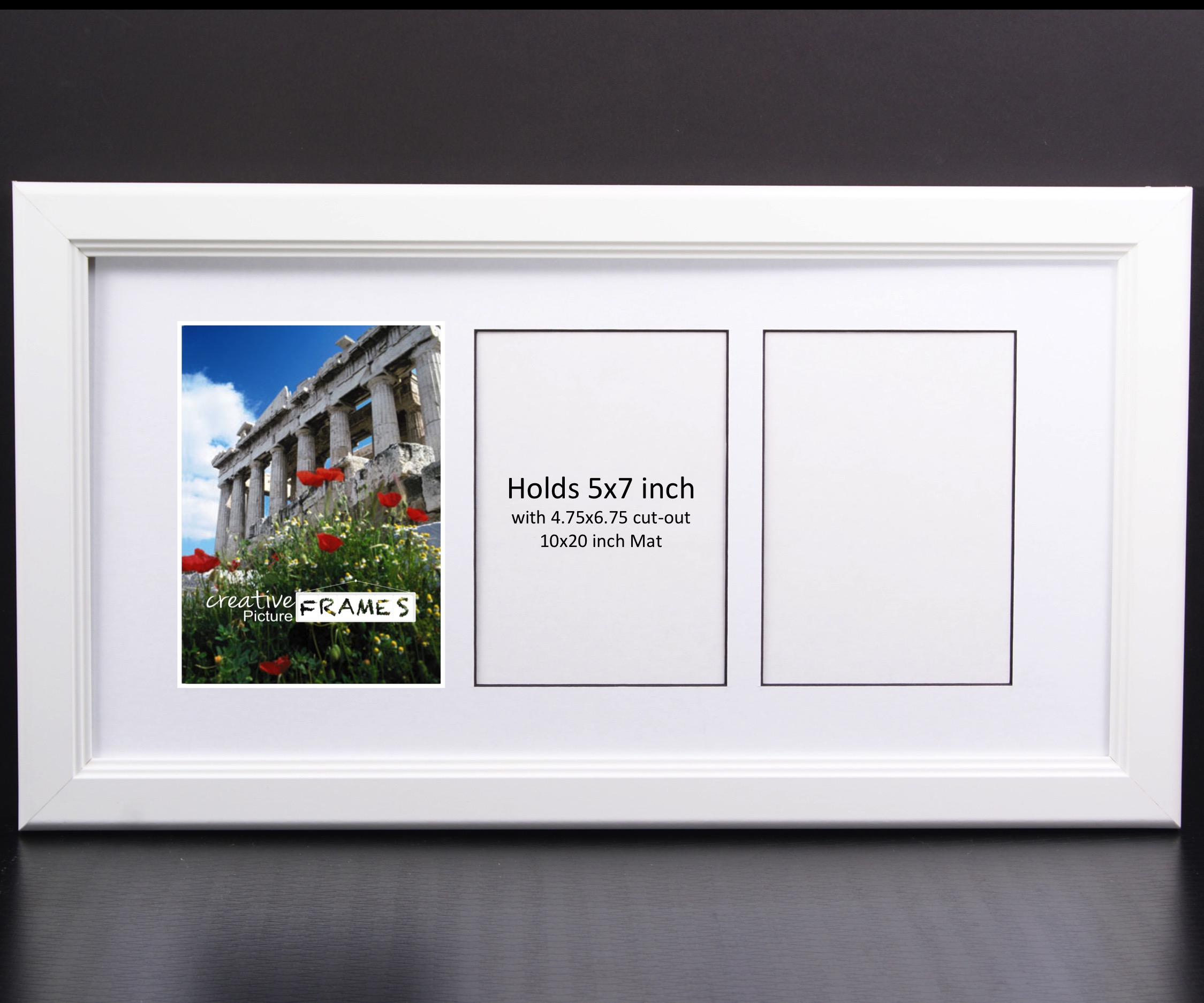 Creativepf 3 Opening Multi 5x7 White Picture Frame 10x20