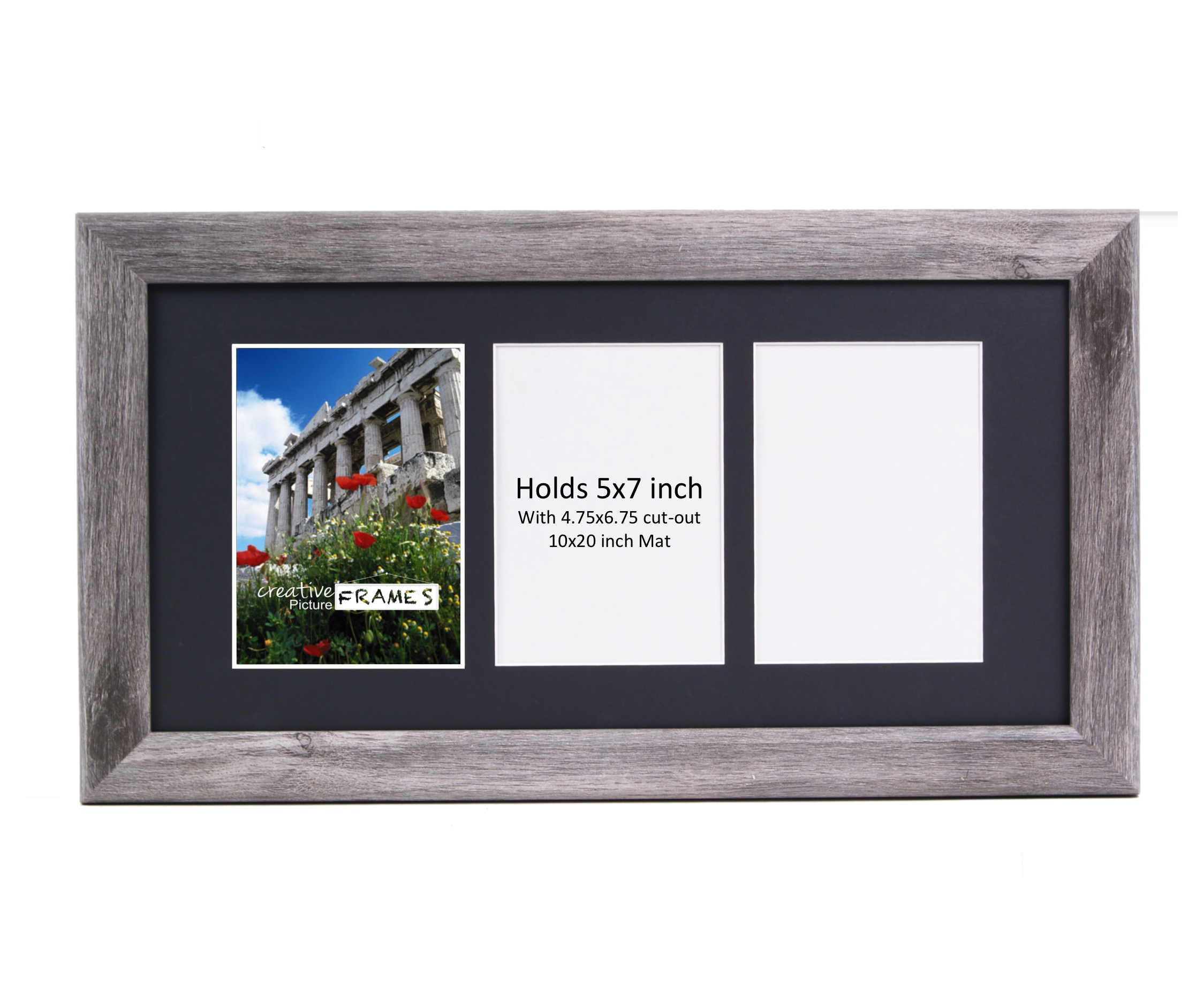 creativepf 3 opening driftwood picture frame with glass to hold 5 by 7 inch photographs including 10x20 inch black mat
