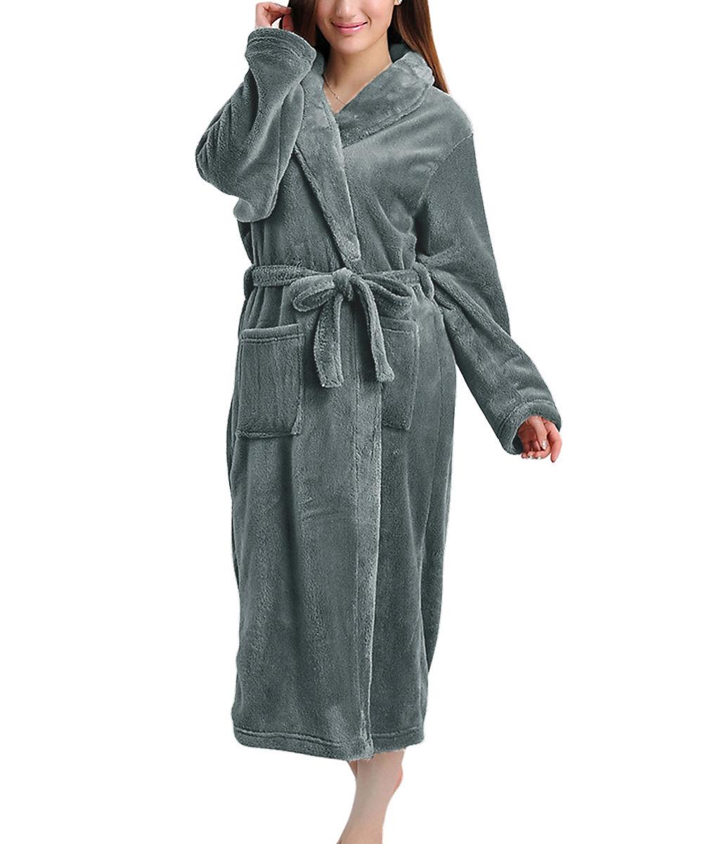 Unisex Women Men Fleece Shawl Collar Long Sleeve Bathrobe Dressing ...