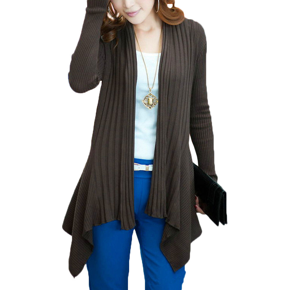 Ladies Women Long Sleeve Knit Open Front Cardigan Top ...