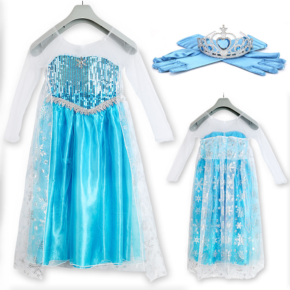 eisk nigin m dchen elsa kleid kost m krone handschuhe tiara set karneval party ebay. Black Bedroom Furniture Sets. Home Design Ideas