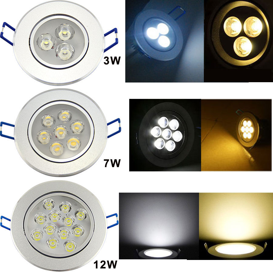 3w 5w 7w 9w 12w 15w led spot leuchte lampe rund einbauleuchte set deckenleuchte ebay. Black Bedroom Furniture Sets. Home Design Ideas