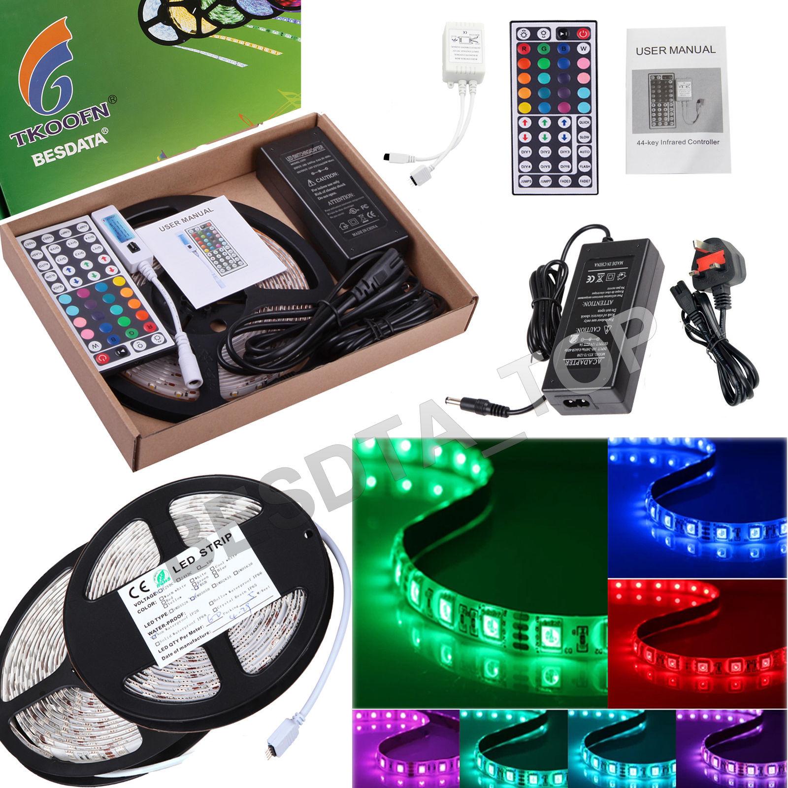 5M 220 240V RGB Color 5050 SMD LED Strip Light Kit IP65 Outdoor LED
